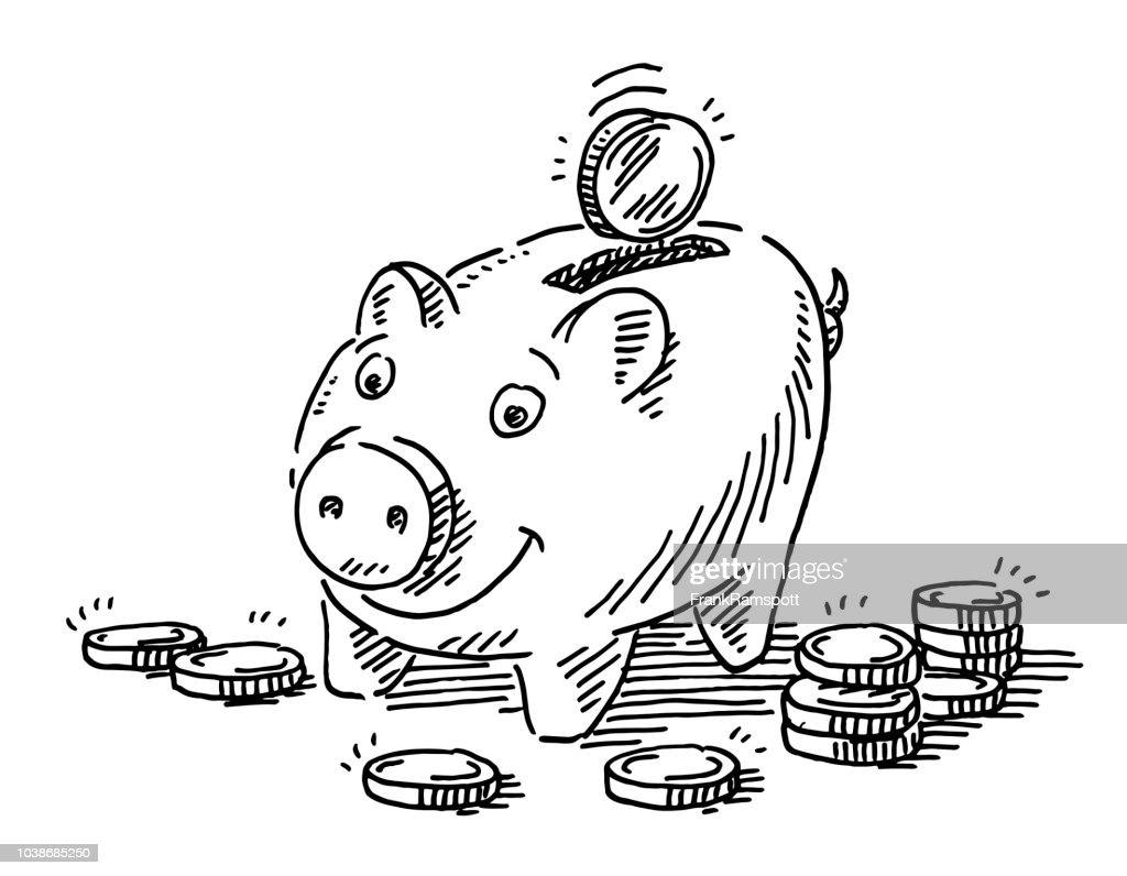 Dinero de la hucha las monedas de dibujo : Ilustración de stock
