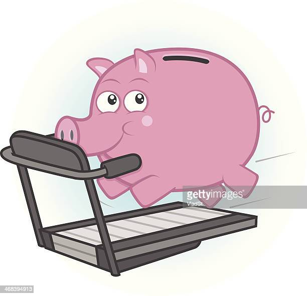 Piggy bank on a treadmill.