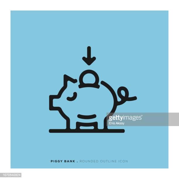 sparschwein abgerundete liniensymbol - sparschwein stock-grafiken, -clipart, -cartoons und -symbole
