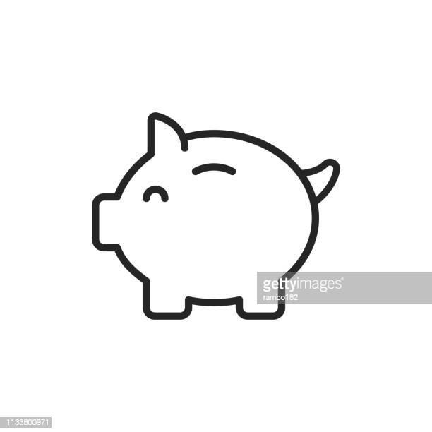 piggy bank thin line vector icon. bearbeitbare stroke. pixel perfect. für mobile und web. - sparschwein stock-grafiken, -clipart, -cartoons und -symbole