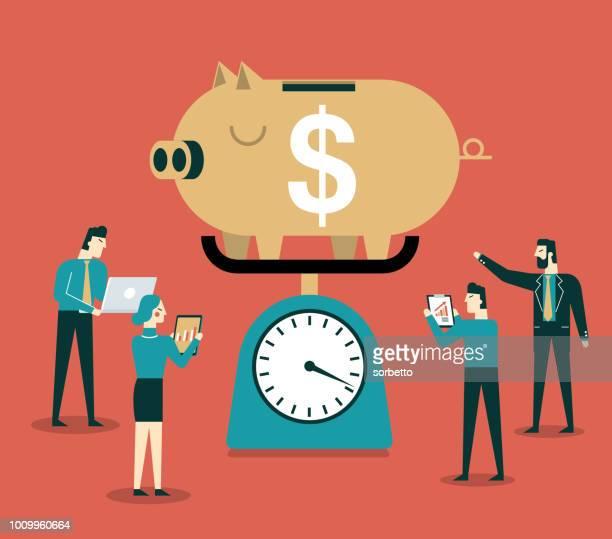 piggy bank - accountancy stock illustrations, clip art, cartoons, & icons