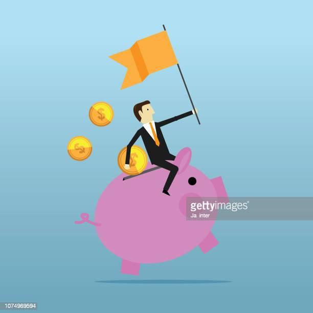 piggy bank - cash management stock illustrations, clip art, cartoons, & icons
