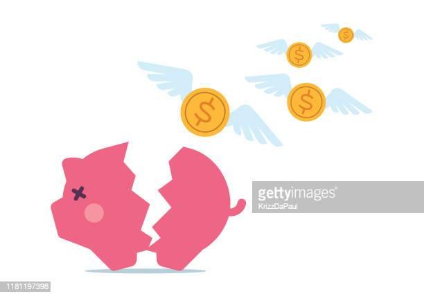 piggy bank - broken stock illustrations