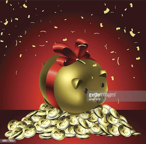 piggy bank - christmas cash stock illustrations