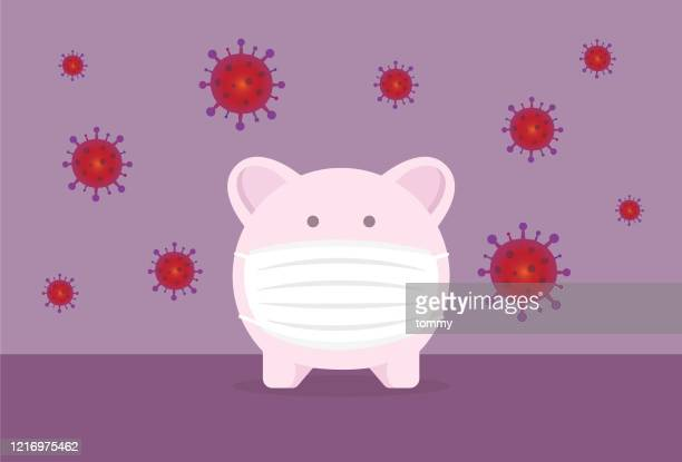 piggy bank wears a mask to protect from a virus - piggy bank stock illustrations