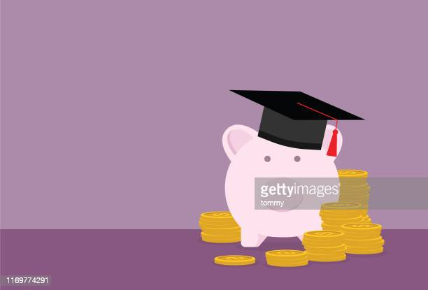 piggy bank with a graduation cap and stack of coin - 線 stock illustrations