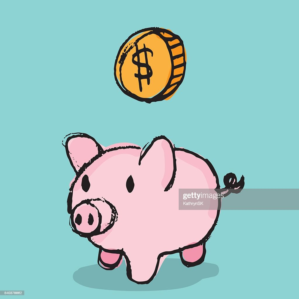 Piggy Bank with Coin : Vector Art