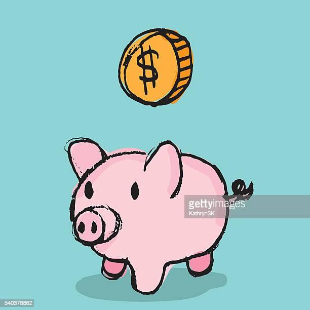 sparschwein mit münzfach - sparschwein stock-grafiken, -clipart, -cartoons und -symbole
