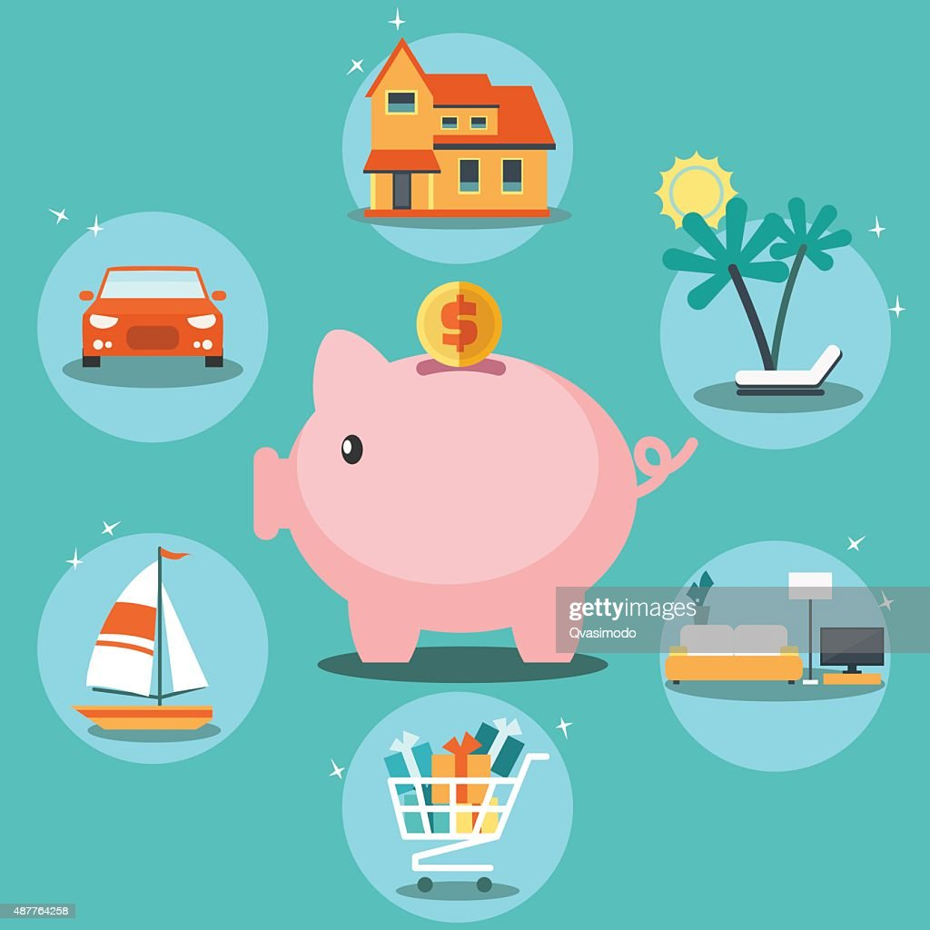 Piggy bank with cons. Saving and investing money vector concept