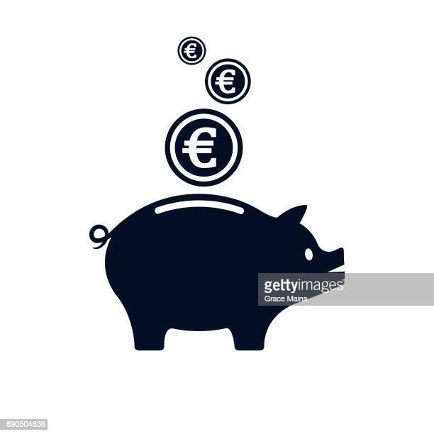 sparschwein mit euro-währungssymbols mit wallet - vektor - sparschwein stock-grafiken, -clipart, -cartoons und -symbole