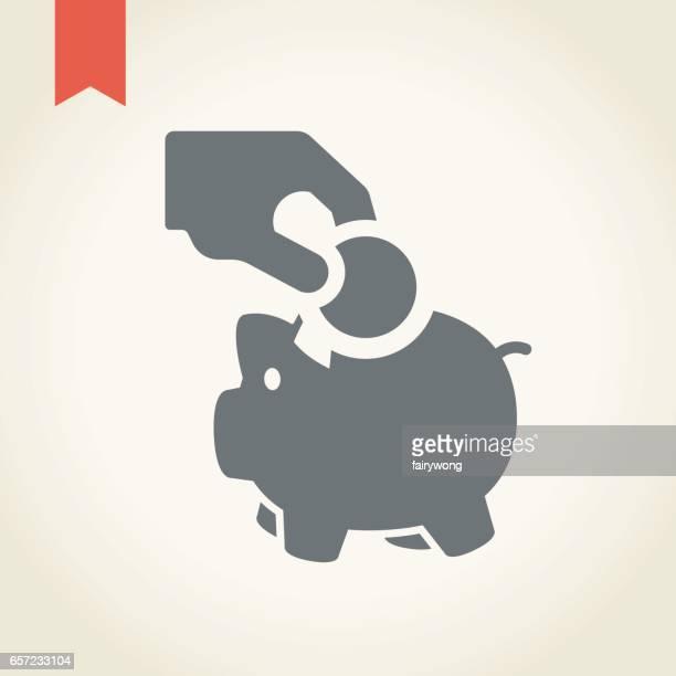 手とコインのアイコンで貯金 - 狩りをする点のイラスト素材/クリップアート素材/マンガ素材/アイコン素材