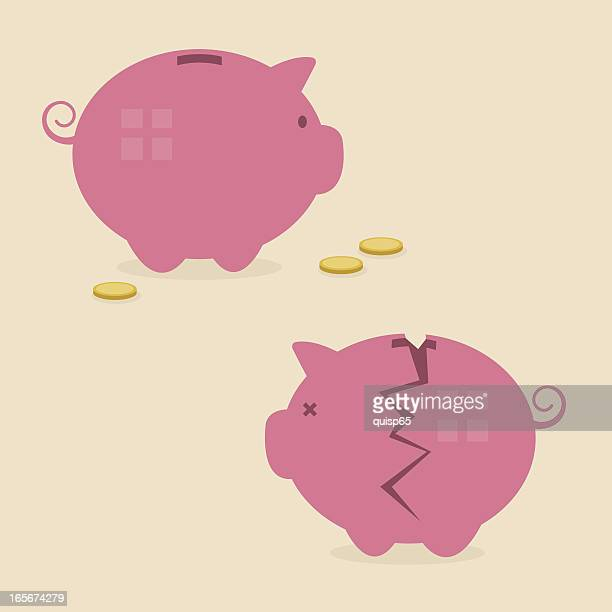 piggy banks - broken stock illustrations, clip art, cartoons, & icons