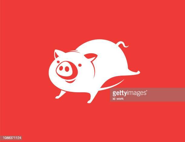 piggy running - pig stock illustrations
