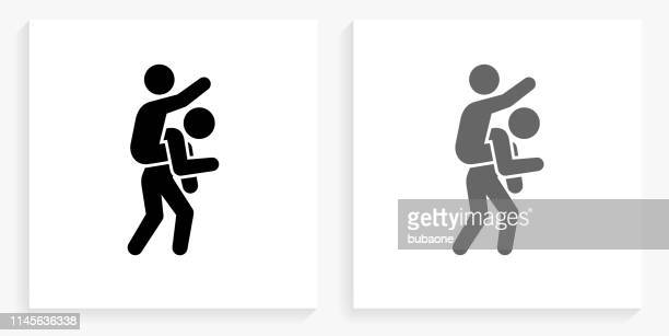 piggyback ride black and white square icon - piggyback stock illustrations, clip art, cartoons, & icons