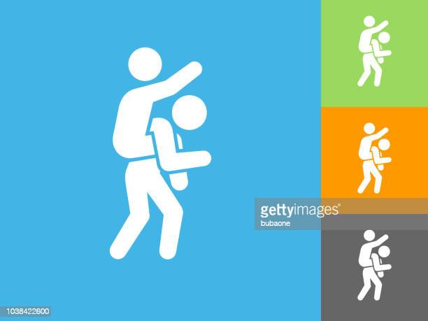 piggyback ride flat icon on blue background - piggyback stock illustrations, clip art, cartoons, & icons