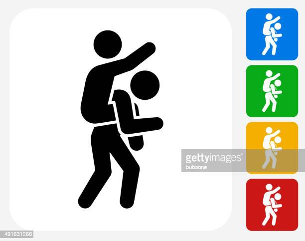 piggyback ride icon flat graphic design - piggyback stock illustrations, clip art, cartoons, & icons