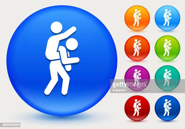 piggyback ride icon on shiny color circle buttons - piggyback stock illustrations, clip art, cartoons, & icons