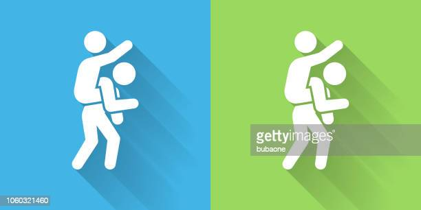 piggyback ride icon with long shadow - piggyback stock illustrations, clip art, cartoons, & icons
