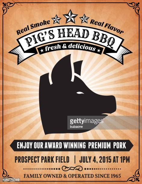 pig's head bbq event poster on royalty free vector background - shopping list stock illustrations, clip art, cartoons, & icons