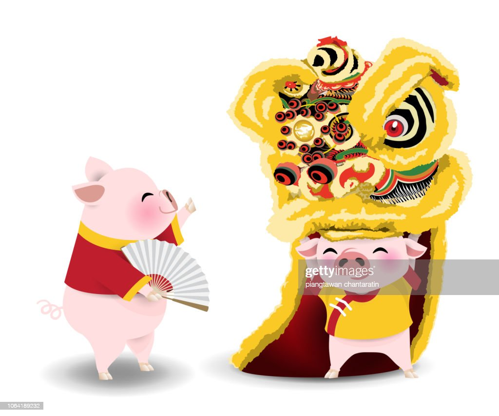 pigs with lion dance