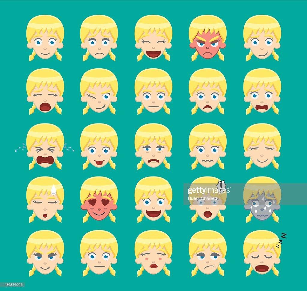 Pigtail Blonde Girl Emoticons Cartoon Vector Illustration