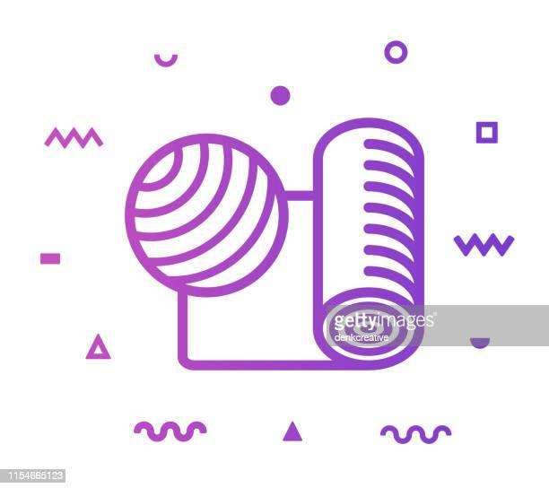 pilates line style icon design - fitness tracker stock illustrations, clip art, cartoons, & icons