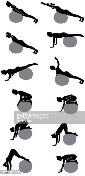 Pilates Silhouette Woman Vector