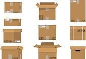 Pile cardboard boxes set.