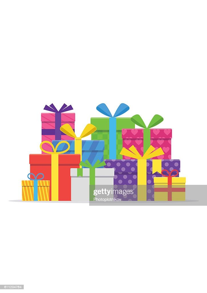 Pile gifts with ribbon and bow set.