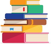 Pile of books in a flat style, isolated on a white background.