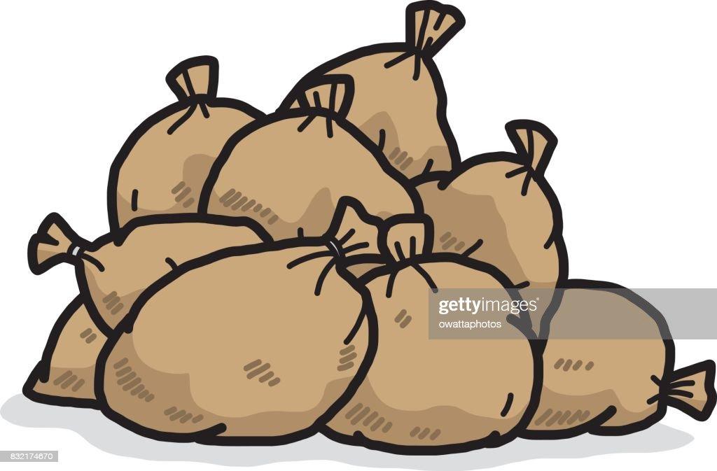pile of brown sacks