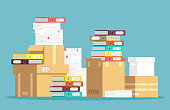 Pile of cardboard boxes, paper documents and office file folders isolated. Unorganized messy papers, paperwork vector concept