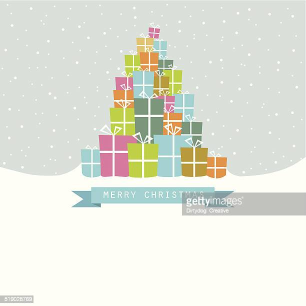 pile of christmas gifts in the snow - christmas present stock illustrations