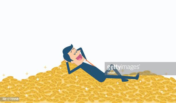 pile of gold coins - wall street stock illustrations