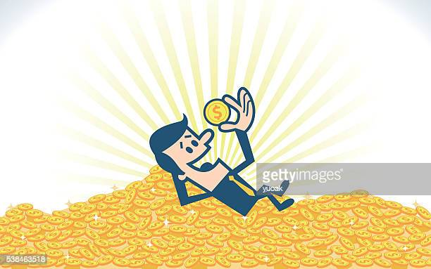 pile of gold coins - jackpot stock illustrations, clip art, cartoons, & icons