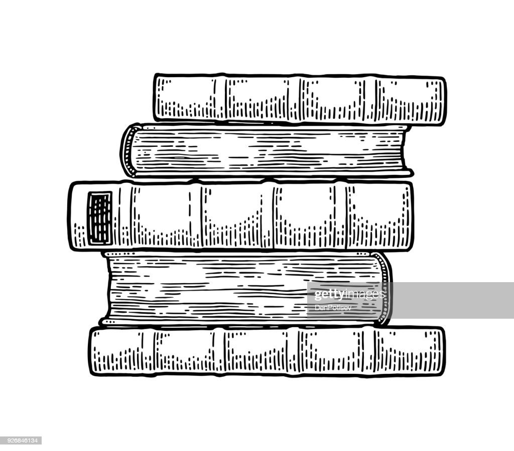 Pile of lying old books isolated on white background. Vector engraving