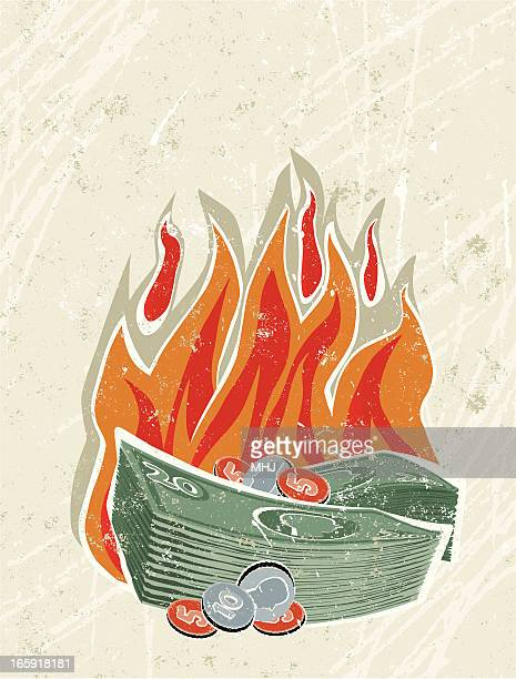 pile of money on fire - money out the window stock illustrations, clip art, cartoons, & icons