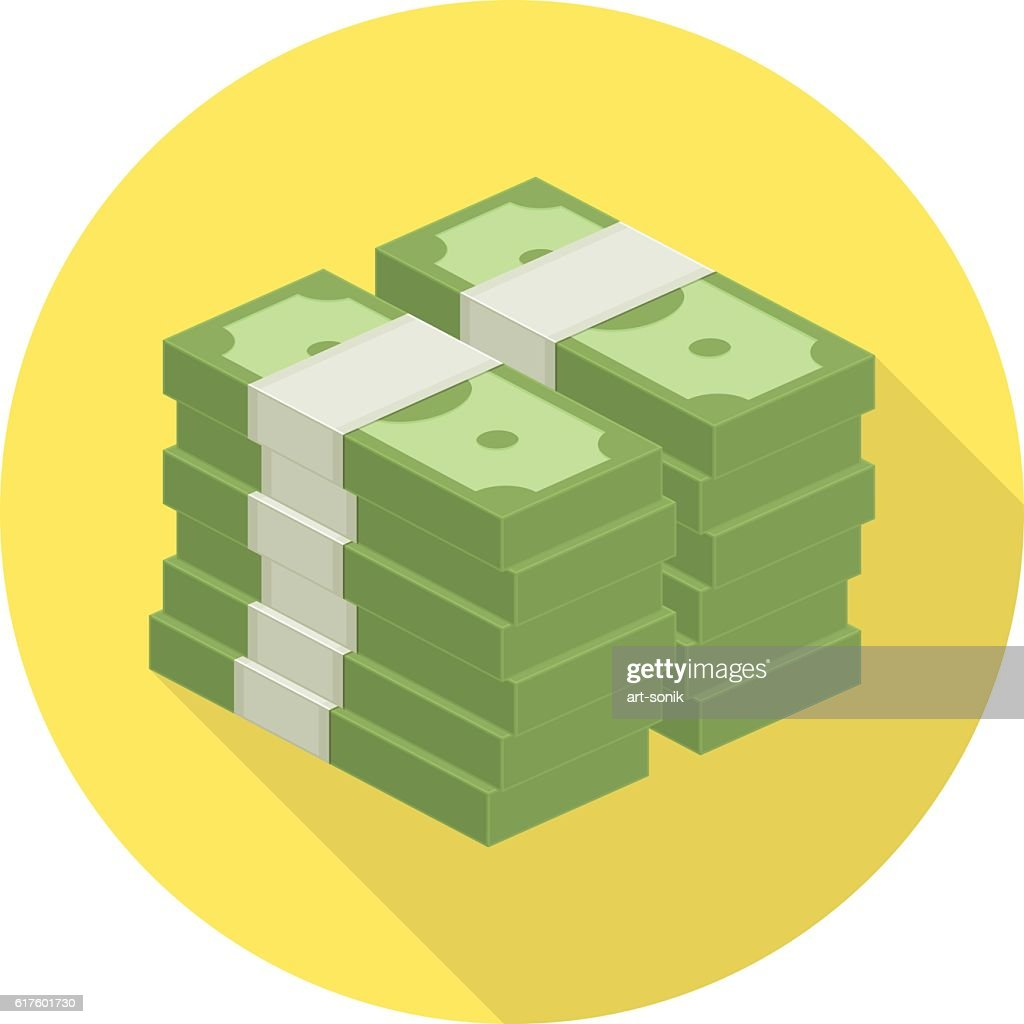 Pile of money vector icon.
