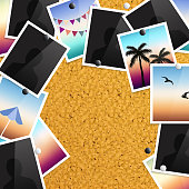 A pile of photographs pinned to a cork notice board with push pins. Vector.
