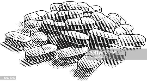 Pile Of Pills. Pain Killers