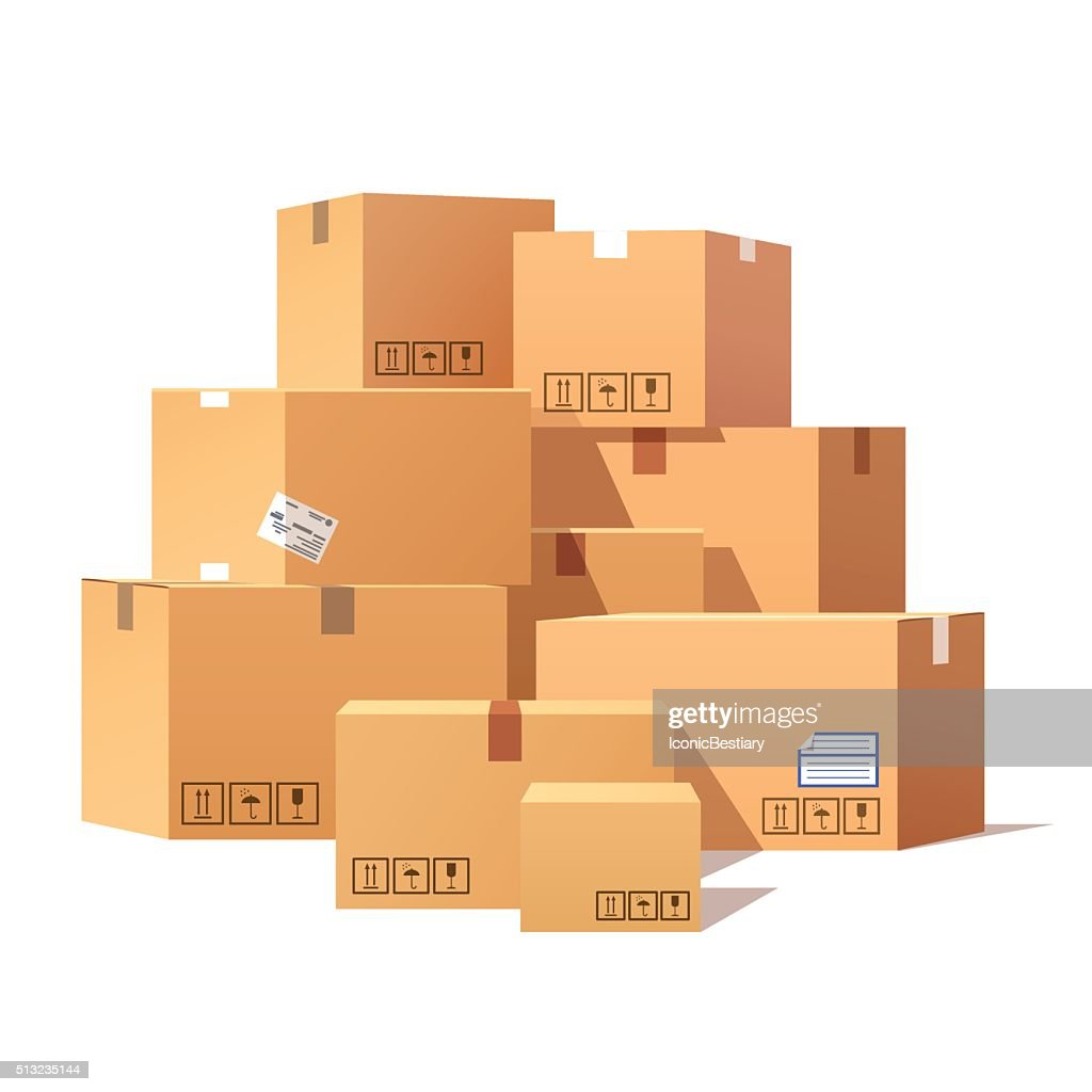 Pile of stacked sealed goods cardboard boxes
