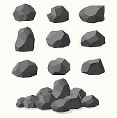 Pile of  stones, graphite coal.