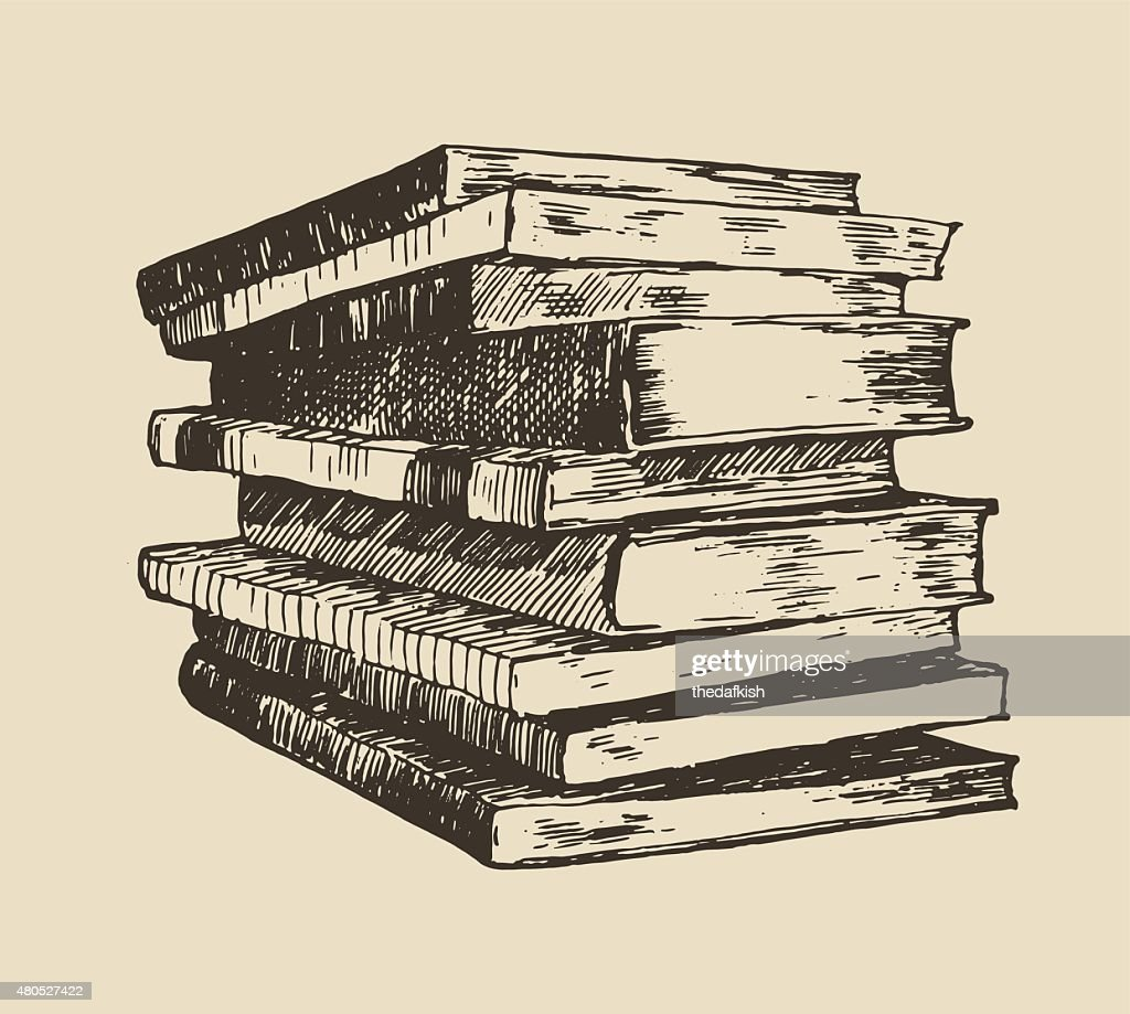 Pile stack of old books vintage hand drawn vector : Vector Art