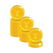 Piles gold Chinese yuan or Japanese yen isolated cartoon icon
