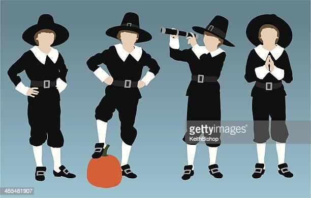 pilgrim boys - pilgrim stock illustrations, clip art, cartoons, & icons