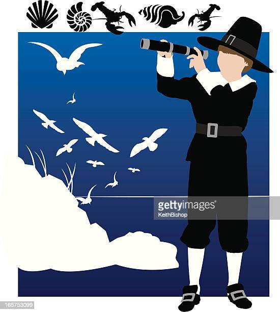 Pilgrim Explorer Boy with Telescope, Seagulls & Sea Shells