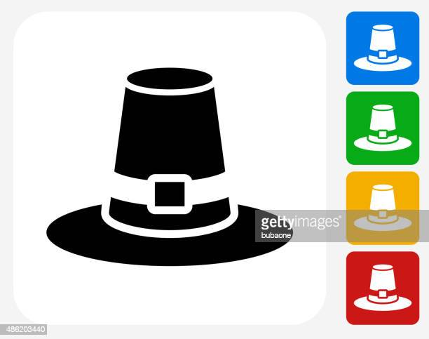 pilgrim hat icon flat graphic design - pilgrim stock illustrations, clip art, cartoons, & icons