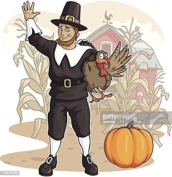 pilgrim on the farm - pilgrim stock illustrations, clip art, cartoons, & icons