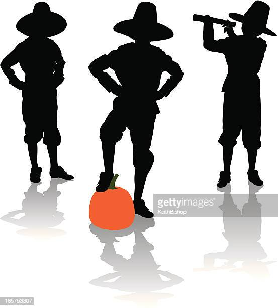 Pilgrim Silhouettes with Pumpkin and Telescope