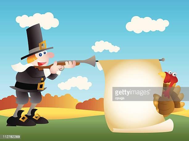 pilgrim thanksgiving shoot - shooting a weapon stock illustrations, clip art, cartoons, & icons